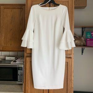 Calvin Klein White Bell Sleeve Dress